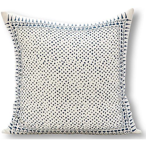 Gracie 22x22 Pillow, White/Blue