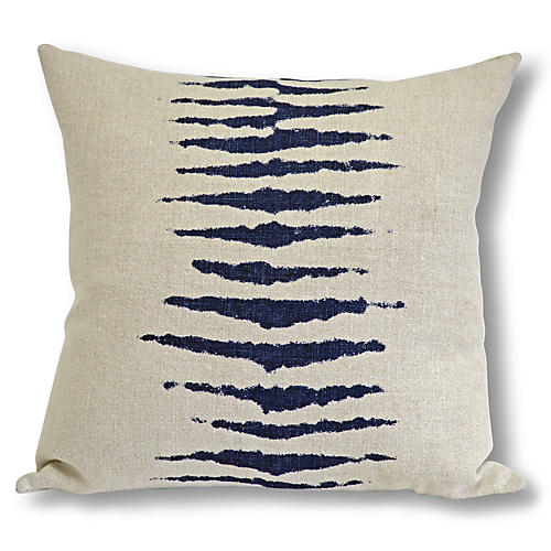 Wild One 22x22 Pillow, Taupe/Navy