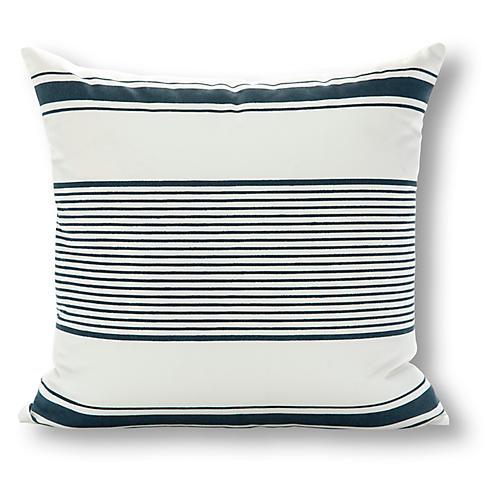 Milo Stripe 20x20 Outdoor Pillow, White/Navy