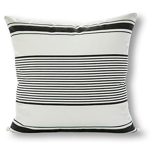 Milo Stripe 20x20 Outdoor Pillow, White/Charcoal