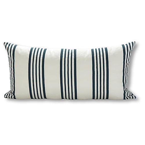 Runway Stripe 15x30 Outdoor Pillow, White/Navy