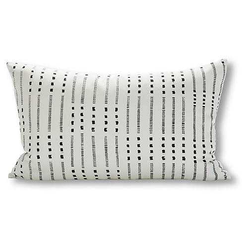 Belmont 16x28 Outdoor Pillow, White/Charcoal