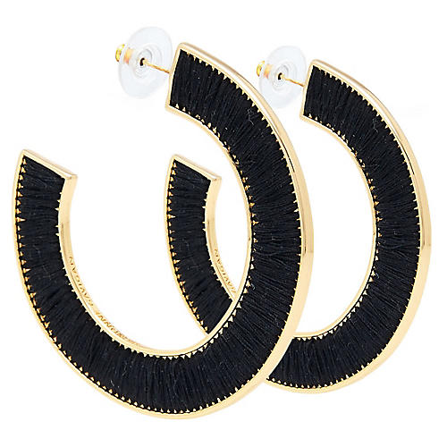 Fiona Hoop Earrings, Black