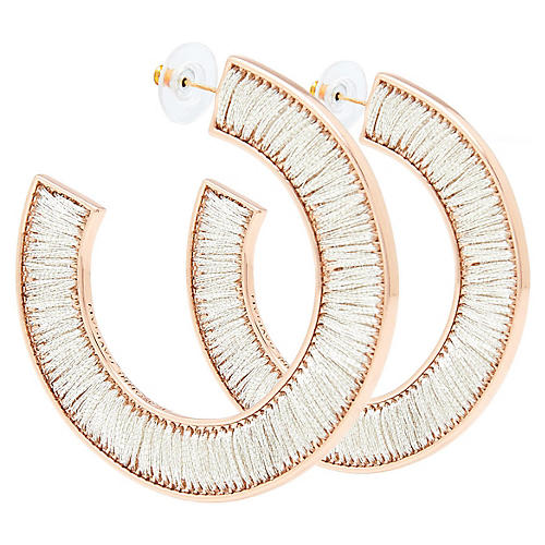 Fiona Hoop Earrings, White