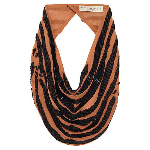 Zebra La Charlot Scarf Necklace, Orange