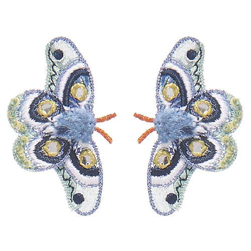 Atlas Moth Stud Earrings, Blue