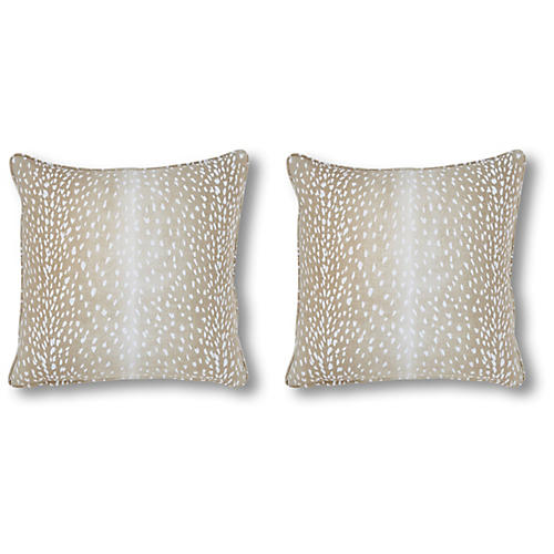 S/2 Doeskin Pillows, Tan/White Linen