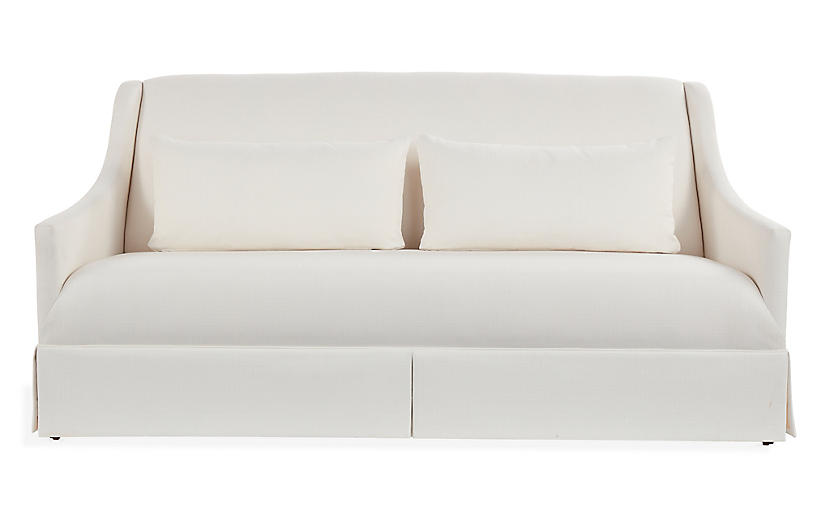 Dawes Skirted Sofa, Ivory Crypton