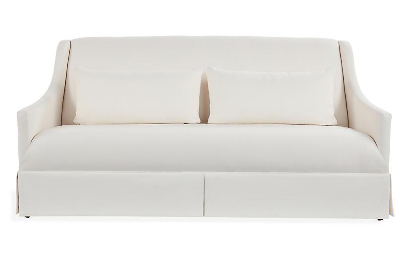 Dawes Skirted Sofa, Ivory Crypton