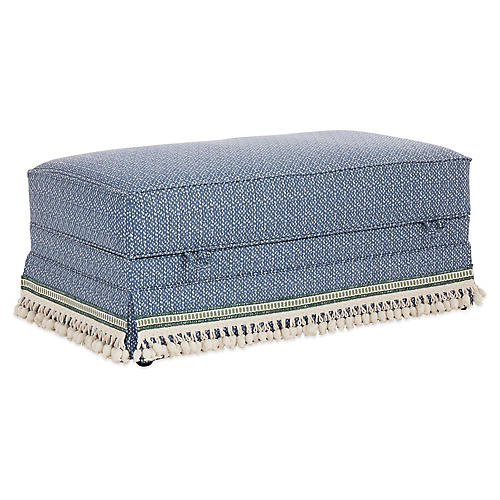 Heath Skirted Storage Ottoman, Navy Spot