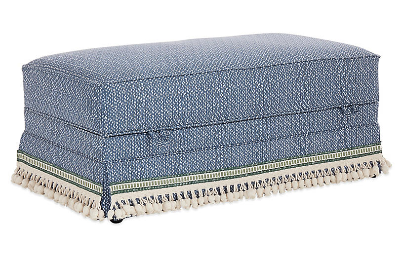 Heath Skirted Storage Ottoman - Navy Spot