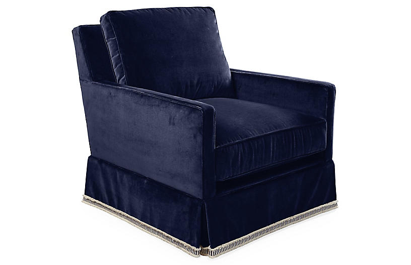 Auburn Club Chair, Navy Velvet