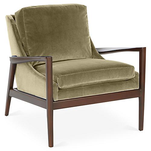 Ebonwood Accent Chair, Moss Velvet