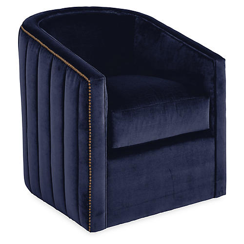 Maxwell Swivel Glider Chair, Navy Velvet