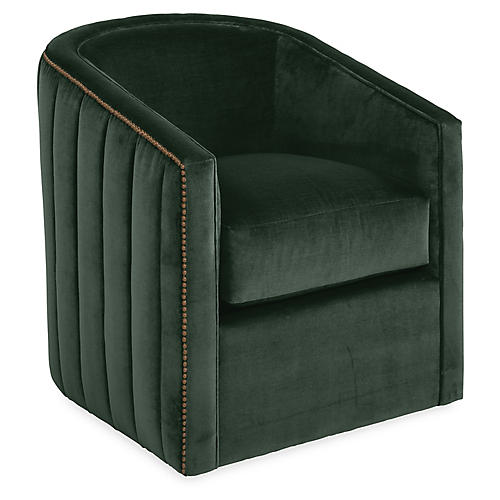 Maxwell Swivel Chair, Forest Velvet