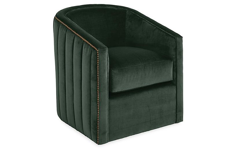 Maxwell Swivel Chair, Forest Velvet