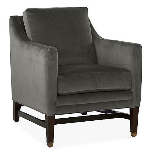 Arden Club Chair, Charcoal Velvet