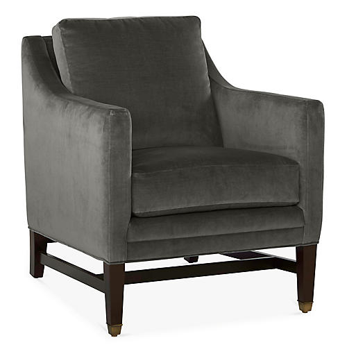 Arden Club Chair, Charcoal Velvet