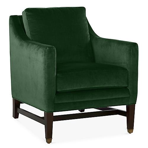 Arden Club Chair, Emerald Velvet