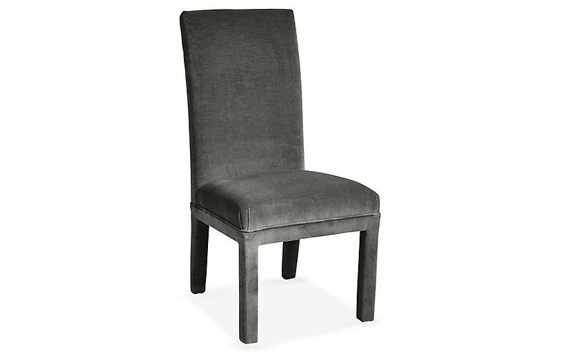 Monroe Side Chair, Charcoal Velvet