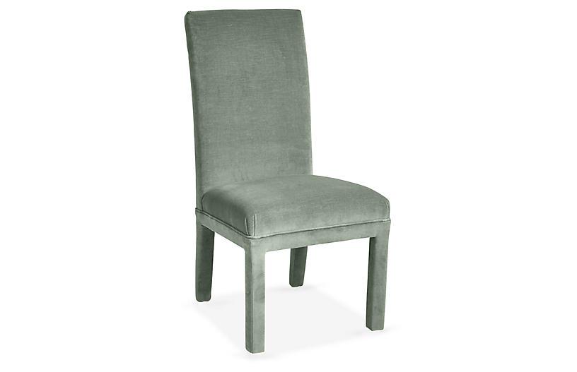 Monroe Side Chair, Sage Velvet
