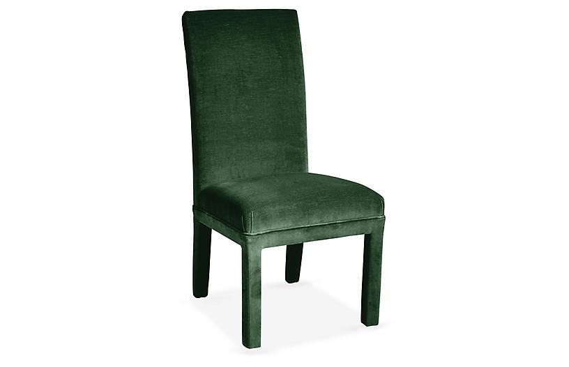 Monroe Side Chair, Emerald Velvet