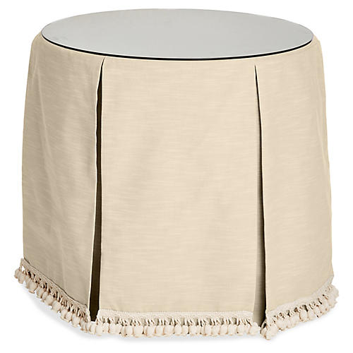Eden Round Skirted Table, Bisque