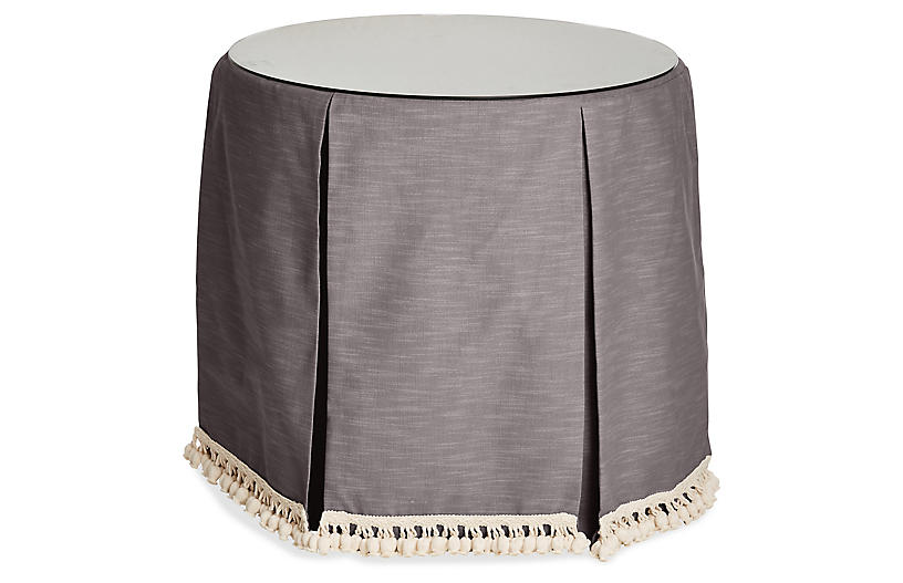 Eden Round Skirted Table, Charcoal
