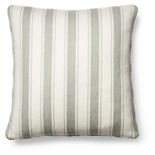 Hove Pillow, Sage/White Linen