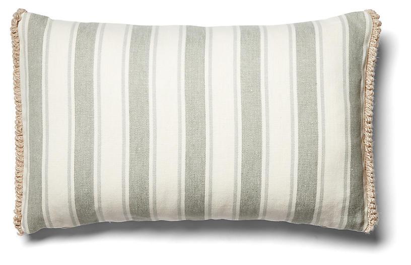 Samia 12x20 Lumbar Pillow, Sage Linen