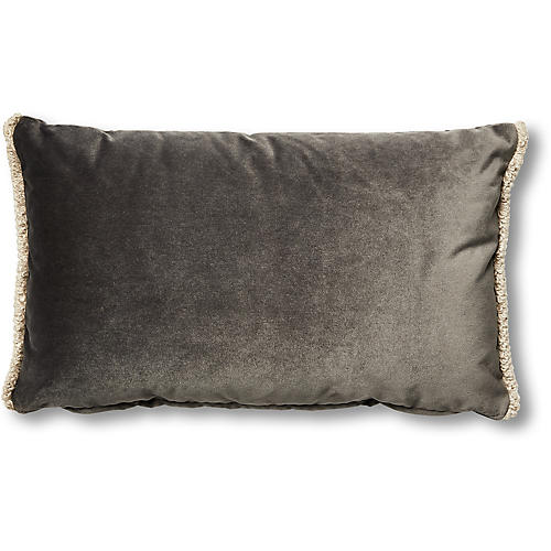 Bali 12x20 Lumbar Pillow, Gray Velvet