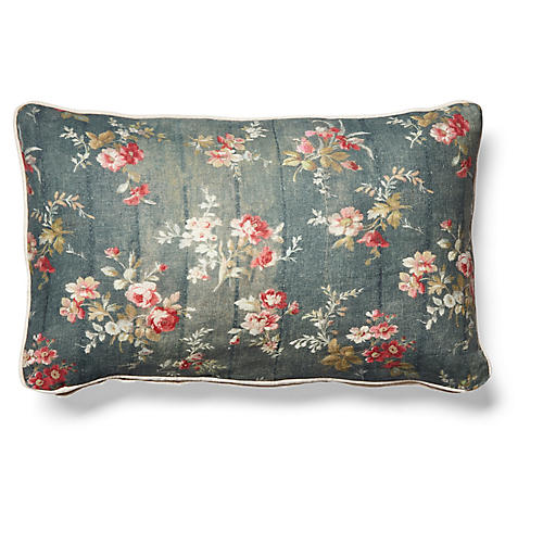 Prairie Rose 12x20 Lumbar Pillow, Gray Linen