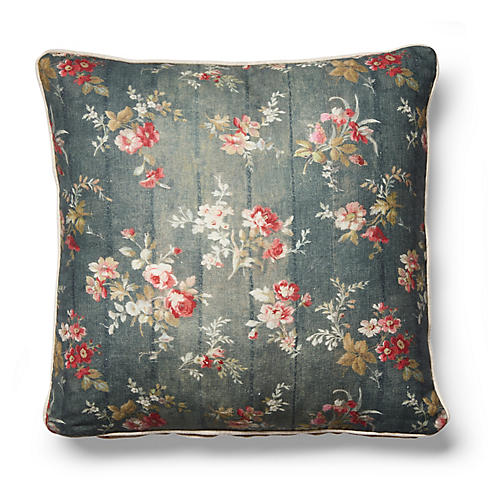 Prairie Rose Pillow, Gray Linen