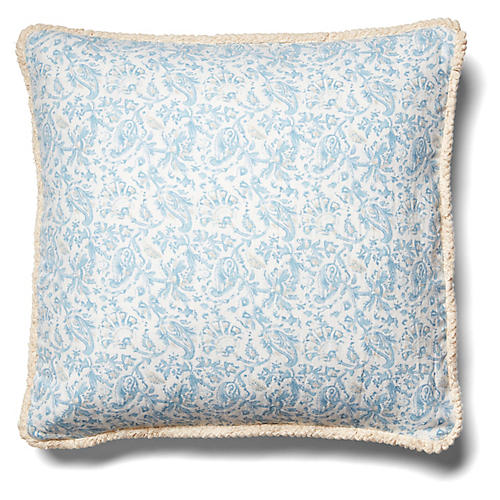 Indes Pillow, Blue/Beige Linen
