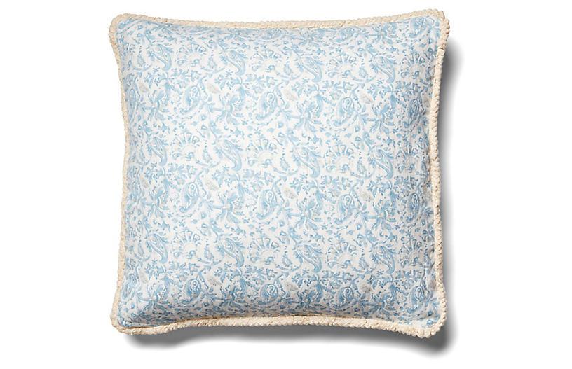 Indes Pillow, Blue/Beige Linen