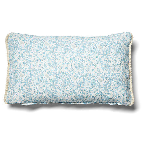Indes 12x20 Lumbar Pillow, Blue/Beige Linen