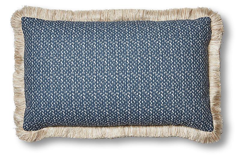 Nika 12x20 Lumbar Pillow, Indigo/White