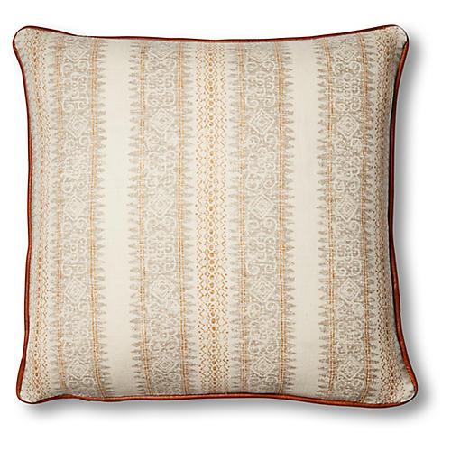 Mihai 20x20 Pillow, Ivory/Saddle