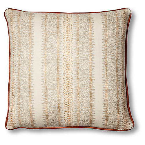 Mihai 20x20 Pillow, Ivory/Saddle