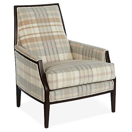 Bergen Accent Chair, Blush Sunbrella