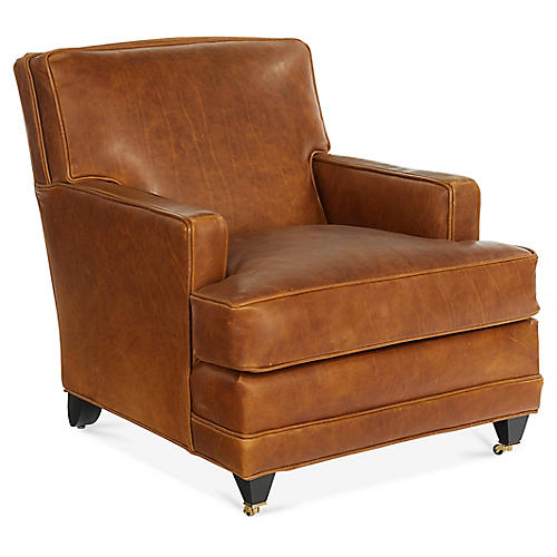 Maxfield Club Chair, Tan Leather