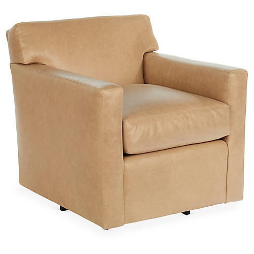 Kelton Swivel Chair, Oatmeal Leather