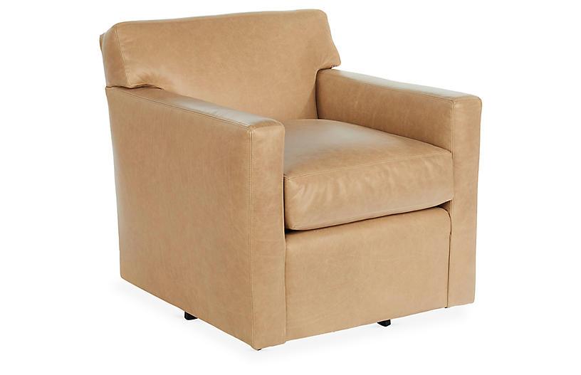 Kelton Swivel Chair, Oatmeal Leather