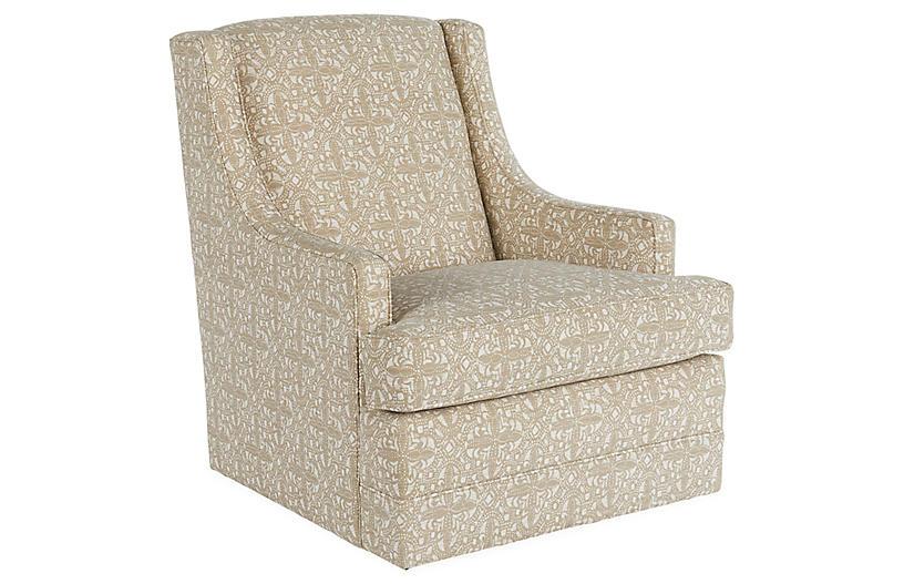 Berkley Swivel Club Chair, Latte