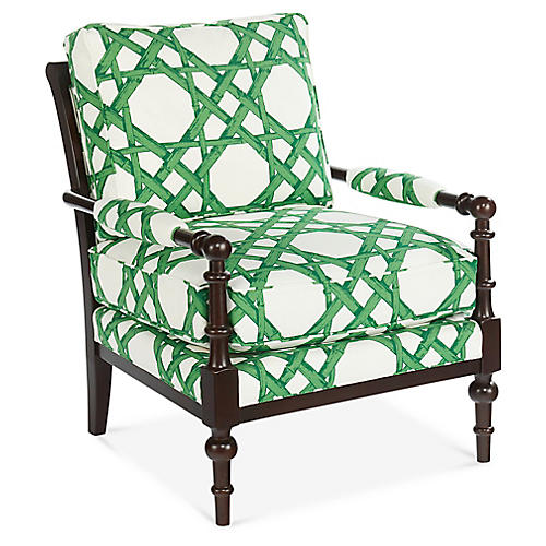 Lily Accent Chair, Emerald Linen
