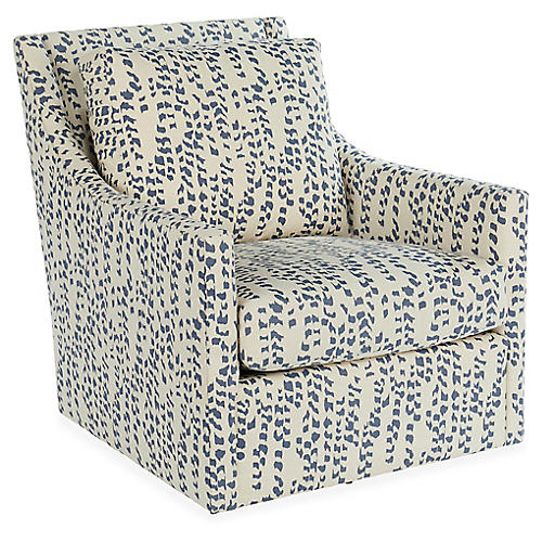 Fairfax Swivel Chair, Indigo Linen