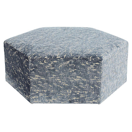 Palmetto Cocktail Ottoman, Ice Blue