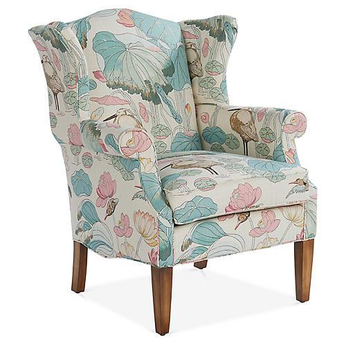 Bradford Wingback Chair, Aqua/Pink Linen