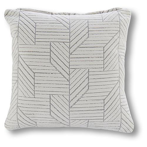 Fresno 18x18 Outdoor Pillow, Gray/White