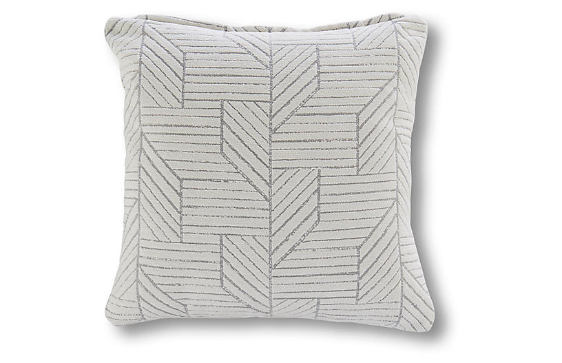 Fresno 18x18 Outdoor Pillow, Gray/White